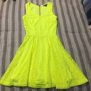 NEON lace skater dress highlighter yellow